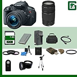 Canon EOS Rebel T5i Digital SLR Camera Kit with 18-55mm STM Lens, Canon EF 75-300mm III Lens and Accessories (19 Items)