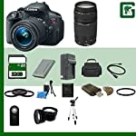Canon EOS Rebel T4i 18.0 MP CMOS Digital SLR with 18-55mm EF-S IS II Lens (Refurbished) & Canon 75-300 Lens + 58mm 2x Telephoto lens + 58mm Wide Angle Lens (4 Lens Kit!!!!!!) W/32GB SDHC Memory+ 2 Extra Batteries + Charger + 3 Piece Filter Kit + UV Filter + Full Size Tripod + Case +Accessory Kit