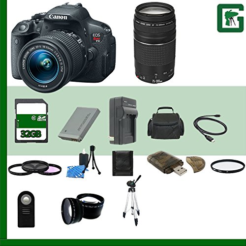 Canon Eos Rebel T5I Digital Slr Camera Kit With 18-55Mm Stm Lens And Canon Ef 75-300Mm Iii Lens + 32Gb Green'S Camera Package B17