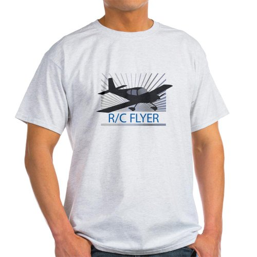 CafePress RC Flyer Low Wing Airplane Light T-Shirt – L Ash Grey