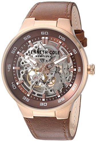 kenneth-cole-new-york-hommes-de-montre-en-acier-inoxydable-et-robe-en-cuir-automatique-couleur-marro
