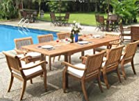 "9 Pc Luxurious Grade-A Teak Dining Set - 94"" Rectangle Table and 8 Stacking Arm Chairs [Model:ABb] from WholesaleTeak"