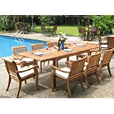 "New 9 Pc Luxurious Grade-A Teak Dining Set - 94"" Rectangle Table and 8 Stacking Arm Chairs [Model:ABb]"
