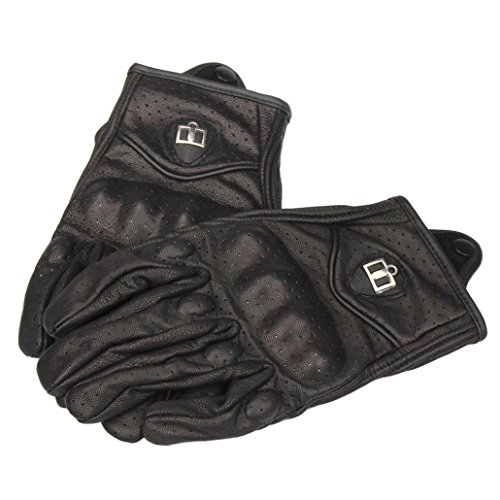 Riding Gloves, Bestpriceam 1 Pair Unisex Motorcycle Bicycle Riding Racing Bike Protective Armor Short PU Leather Gloves (Black 1, L)