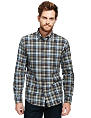 2in Longer Blue Harbour Brushed Pure Cotton Multi-Checked Shirt