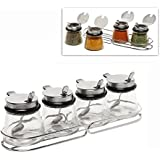 MyGift® Set of 4 Glass & Stainless Steel Spice Jars / Lidded Condiment Pots w/ Spoons & Chrome Wire Rack