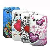 zkiosk 288 Pack de 4 Coques en silicone pour Samsung Galaxy Young S5360 Motif Cercles de coeur papillon fleurs Rose/Bleu/Blanc/Noir/Rouge)