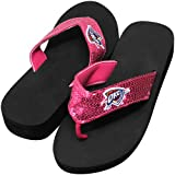 NBA Oklahoma City Thunder Ladies Sequin Wedge Flip Flops - Pink (5/6) Amazon.com