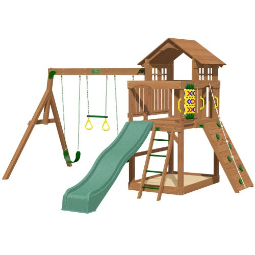 Playtime Eagle Point Swing Set With 8 Ft Green Wave Slide front-49674