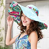 Search : Vktech Summer Women Topee Sun Block Hat Wide Brim Beach Bohemia Foldable Cap Visor (Blue)