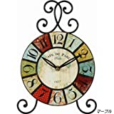 『アンティーク風スタンド時計』【IT】デザイン:マーブル(#9880291)サイズ:幅22×奥5.5×高30cmお部屋をさりげなく演出!(デザイン板は表面ガラス仕上)