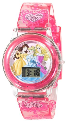 Disney Kids' PN1009 Princess Digital Dial Pink Jelly Strap Watch