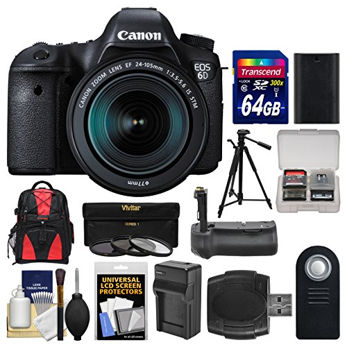 Canon EOS 6D Digital SLR Camera Body  &  EF 24-105mm IS STM Lens with 64GB Card + Backpack + Battery  &  Charger + Grip + Tripod + 3 Filters Kit