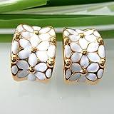 18k Gold Plated Square Rainbow White Enamel Omega Az1936o Earrings