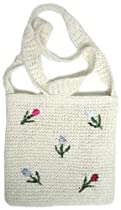 Clearance! Embroidered Straw Tote with Rose Accents Simple Colors: White