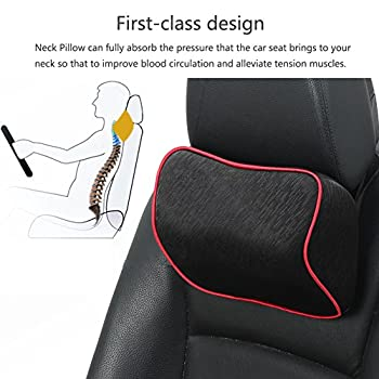 HaloVa Car Neck Pillow Premium Memory Foam Car headrest, Universal Car Seat Head Pillow With Adjustable Elastic Strap for Car, Travel, Office, Home, Black