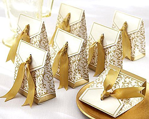 Clover 50 Gold Gift Boxes Candy Favor Box Wedding Decoration Party Decoration New Craft Decoration Thanksgiving Gifts Christmas Gifts
