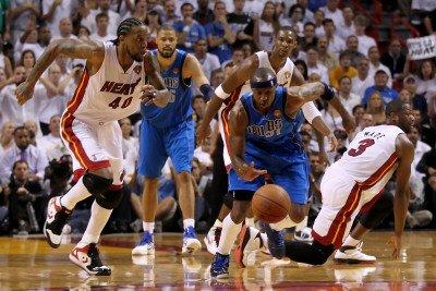 Dallas Mavericks V Miami Heat - Game Six, Miami, Fl - June 12: Jason Terry, Udonis Haslem, Chris Bo Photographic Poster Print By Mike Ehrmann, 8X12