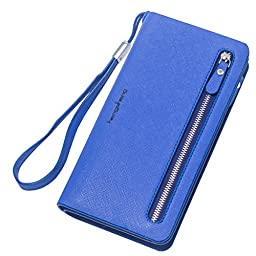 Women\'s Premium leather Clutch Zipper Long Handbag Lady\'s Wallet Coin Purse fashion phone holder for iphone 6s 6 5C 5S Samsung Galaxy Note 4 3 S6 S5 LG HTC + stylus (Darkblue)