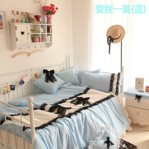 Korean Textile Princess Bedding Cotton Denim Bedding Set front-953038