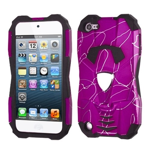 Mybat Curved Lines Hot Pink/Black Car Pattern Hybrid Protector Cover With Package For Ipod Touch 5 front-628294