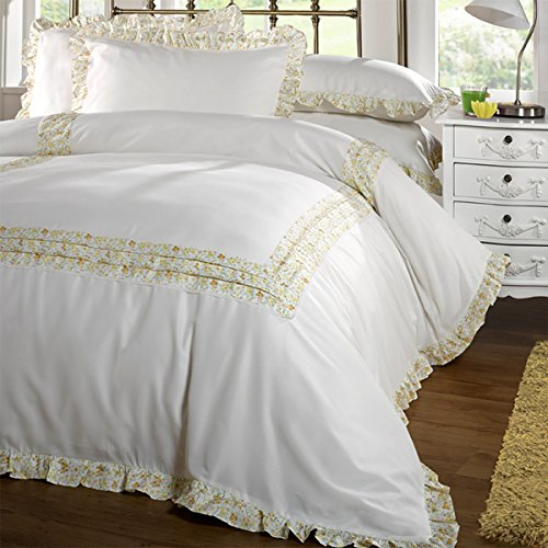 Traditional Lace Trim Polycotton Duvet Cover or Sheet Set in Ivory by Belledorm