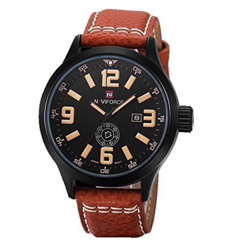 LightningStore Men's Fashion Watch - Super Affordable Elegant Looking Watch - Fashion Men Sports Watches Men's Quartz Hour Date Clock Man Leather Strap Military Army Waterproof Wrist Watch Male Relogio (Waltham Mens Watch compare prices)