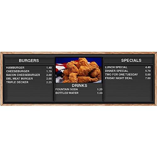 Comealong Industries Mpal-Chick-7224-Lp-Ho E-Z Chicken Menu Board With Honey Oak Frame, 6' X 2' Letter Panel
