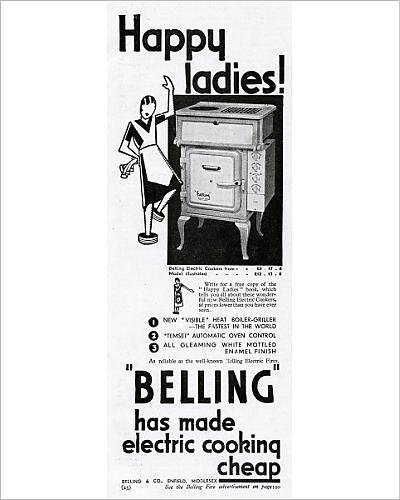 Photographic Print Of Advert For Electric Cookers By Belling 1931
