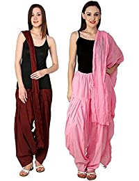 LIKE Maroon Light Pink Women's Free Size Solid Patiala With Dupatta Combo Pack For Ledies