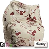 LittleBloom, Reusable Pocket Cloth Nappy, Fastener: Popper, Set of 1, Pattern 6, Without Insert, Mickey(Minky)