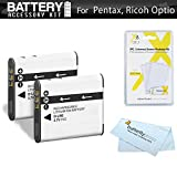 2 Pack Battery Kit For Pentax Optio WG-1, WG-2, WG-3, WG-3 GPS, Ricoh WG-4 GPS, WG-4, WG-30, WG-30W, WG-5 GPS...