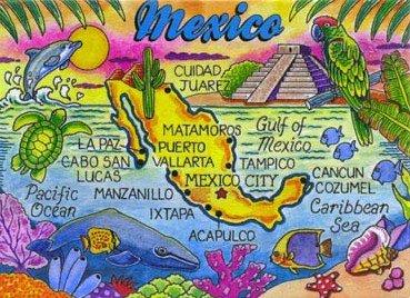 """Mexico Map Caribbean Fridge Collector'S Souvenir Magnet 2.5"""" X 3.5"""""""
