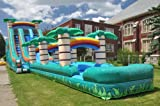 Wet or Dry Slide Inflatable 22 Feet High Double Bay Tropical Paradise Includes Two 1.5 Hp Blowers