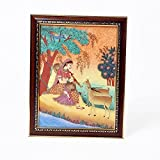Little India Meera Playing Sitar And Forest Gemstone Painting (344, Brown)