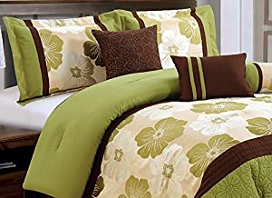 7 Pieces Luxury Sage Green, Beige, Brown Quilted Floral Comforter Set / Bed-in-a-bag King Size Bedding
