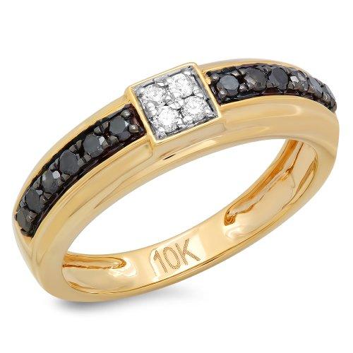 10K Yellow Gold Round Black  White Diamond Men's Hip Hop Wedding Band ...