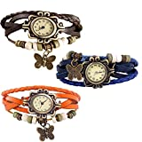 Combo of 3 VB-310 Vintage Butterfly Orange + Brown + Blue
