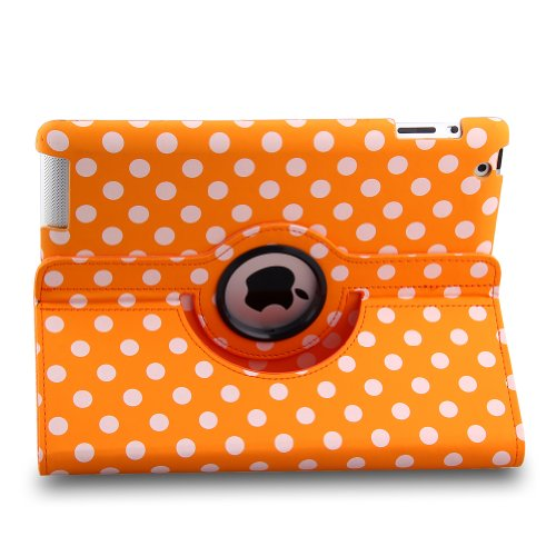Auto Sleep/Wake Function 360 Degree Rotating Smart Case Cover For 7.9 Inch Apple Ipad Mini/Ipad Mini 2 With Retina With A Stylus As A Gift--Polka Dot Pattern,Orange