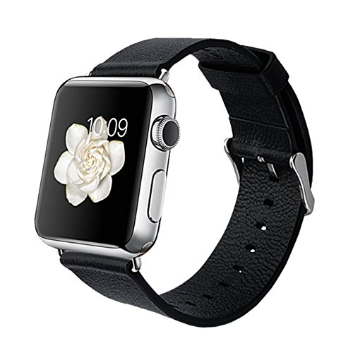 Orzly® - DESIGNER STRAP for APPLE WATCH 38MM - BLACK FAUX LEATHER - Made by Orzly® specifically for use with the AppleWatch (Fits 38mm Version of BASIC Model and EDITION Verson, but NOT FOR SPORT Model)