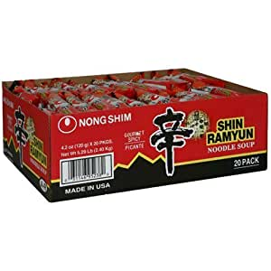 Shin Ramyun Hot Spicy Noodle Soup (Nong Shim-Gourmet Spicy) for 20 Bags