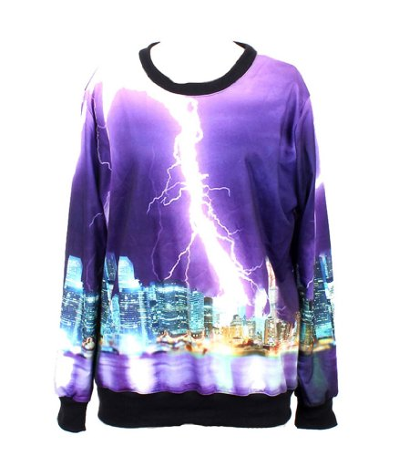 Pandolah Neon Galaxy Cosmic Colorful Patterns Print Sweatshirt Sweaters (Free size, Lightning)