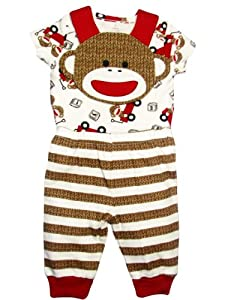 Baby Boy Sock Monkey Bib, Bodysuit, and Striped Footless Pants by Baby Starters