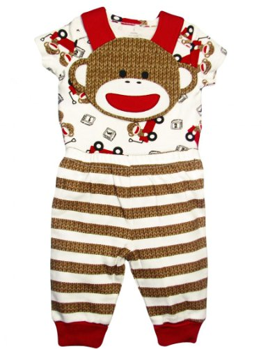 Baby Boy Sock Monkey Bib, Bodysuit, And Striped Footless Pants By Baby Starters - Red - 3 Mths / 8-12 Lbs front-11934