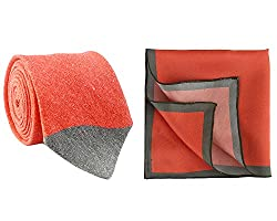 Chokore Red and Grey Linen Tie & Red and Grey Silk Pocket Square set