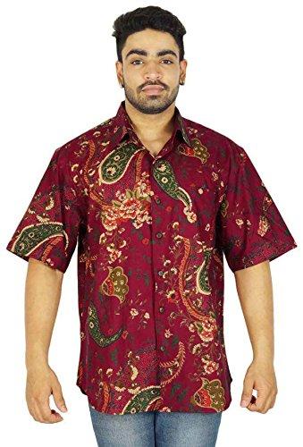 Herren Kurzarm Baumwolle Floral Button-Down-Mann-Hemd