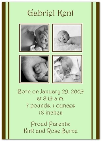 2 + 2 on Mint & Brown Birth Announcements - Set of 20