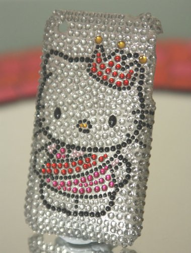 Ezmarket Hello Kitty Rhinestone Bling Crystal Crown Iphone 4 Case