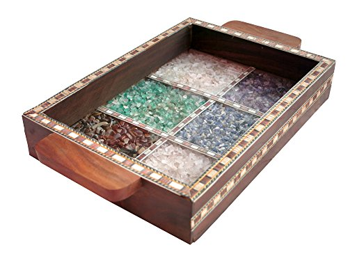 Serving Tray Made with Decorative Crushed Gem Stones in Design of Twelve Squares, Must for Home, Dining and Gift Purpose