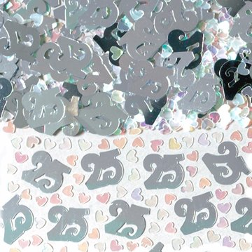 BAG OF SILVER 25 BIRTHDAY ANNIVERSARY TABLE CONFETTI 14G
